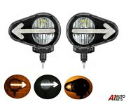 Pair Universal 120w Led Hq Combination Headlights For Loading Tractor Excavator