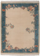 Rra 9x12 Chinese Floral Open Field Design Ivory And Blue Rug 28668