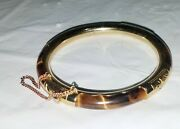 Antique Chinese Tiger's Eye And Gold Hinged Bracelet
