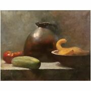 Stan Phillips Oil Painting Still Life With Stoneware And Vegetables