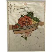 Varujan Boghosian Framed Paper Collage With Boat Flowers And Constellation Map
