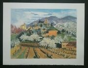 Vintage Yves Breyer Print And039cherry Trees In Bloomand039 50 X 65cms. On Arches Paper