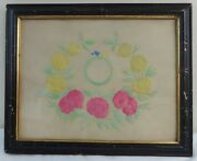 Antique Fine Pin Prick And Watercolor On Paper Floral Wreath Love Birds Ca.1850and039s