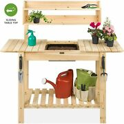 Potting Bench Garden Wood Workstation Dry Sink Expandable Table Indoor Outdoor