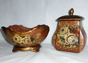 Vintage Toyo By Raymond Waites Hndpntd 10.5 Bowl And 8.5 Ginger Jar Canister