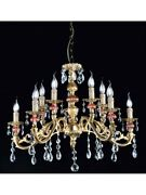 Chandelier Classic Brass Glass Of Murano And Crystal Tp 132-la-5+5-01