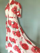 Vintage Original 1940and039s 40s Long Floral Rayon Zip Front Saybury Dress Housecoat