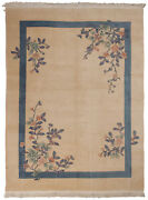 Rra 9x12 Chinese Art Deco Floral Design Ivory And Blue Rug 43444
