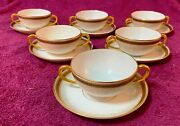 Bouillon Dual Handled Soup Cup And Saucer Lot Of 6 Limoges Marked R. Redon And Pl