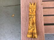 Rare 18th Or 19th Century Bone Or Horn Lady Liberty Carving W/shrimp+ Rooster