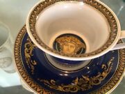 Versace Low Blue Medusa Tea Cup And Saucer Rosenthal New In Box