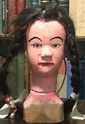 Circa 1900 Antique Asian Chinese Hand-carved Wood Puppet Head Woman, Real Hair