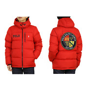 Polo Hooded Down Puffer Jacket W/ Emblem Patch Back - Red