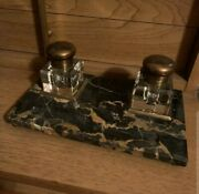 Antique Black Marble, Glass And Brass Inkwell Desk Set - Unique And Detailed