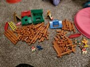 Playskool Lincoln Logs Frontier Fort Teepee Indians Rocky River Trading Post Set
