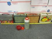 4 Metal Lunchboxes Red Barn Cowboy Brown Leather Denim W/ Thermos And Fruit Lot