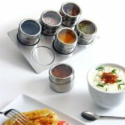 6pc Stainless Steel Magnetic Spice Jars Pot Herb Rack Tin Storage Holder Stand