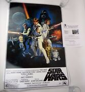 Harrison Ford Signed Autograph Full Size Star Wars Movie Poster Beckett Bas Coa