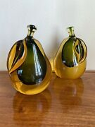 Set Of 2 Mid Century 1950s Sommerso Glass Fruit Pear Paperweights Bookends Italy