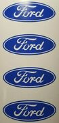 4 Blue Wheel Rim Center Caps Logo Decal Stickers For Ford F150 F250 F350 F450