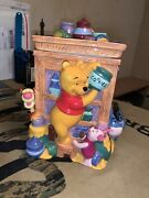 Disney - Ornate Winnie The Pooh Large Rectangle Cookie Jar - Rare Collectible