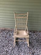 Antique White Wooden/ Wicker Rocking Chair/old Farmhouse Decor Sturdy