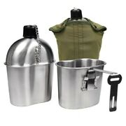 Military Stainless Steel 1 Quart Canteen, Army Green Nylon Cover And Cup, Portable