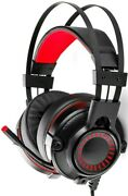 New Blackweb 7.1 Surround Sound Pc Gaming Headset Retractable Micro Red Led Side
