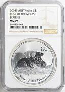2008 1 Oz Ngc Ms69 Silver Australian Year Of The Mouse Coin Bullion