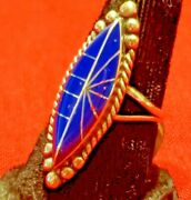 Zuni Inlay Size 8 Lapis Ring Sterling Silver Collectible Native American Usa