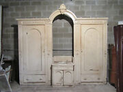 Antique Carved Walnut Closet Front Built In Armoire 120 X 108 Salvage