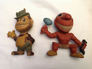 1940 1950 Rubber Rempel Toys Brooklyn Dodgers Bum Chief Wahoo Cleveland Indians