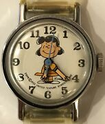 """Schulz Charlie Brown Peanuts""""lucy"""" 1950's Automatic Windup Ladies Working Watch"""