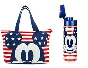 Mickey Mouse Americana Set With Foldable Tote Bag And Water Bottle New Nwt