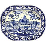 19th C Blue And White Staffordshire Transferware Platter With Ma State House