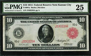 1914 10 Red Seal - Federal Reserve Note Kansas City - Fr-901a - Graded Pmg 25