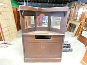 1880and039s Antique Built-in Corner China Cabinet Oak Mirrors Victorian Style Ornate