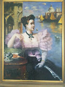 Beautiful Large 19th 20th Century Portrait Painting Of A Woman