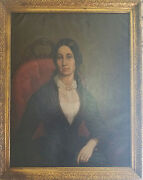 Very Beautiful Large Antique 19th C. Oil Portrait Painting Of A Lady C. 1840