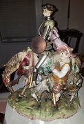 Huge Italian Porcelain Figural Group Of Don Quixote 22 Inches