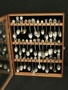 Lot Of 42 Souvenir Spoons With Wooden Case-silver Plated And Pewter Plus 5 More