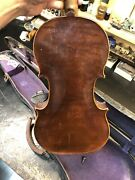 Old French Derazey Shop 4/4 Violin For Repair. Antique One Piece Back