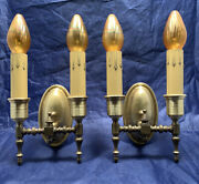 Very Nice Quality Yellow Brass Antique Double Candle Wall Sconces 67b
