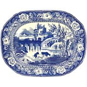 19th C Blue And White English Staffordshire Transferware Platter W/ Cows And Well