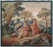 Rare Vintage French Aubusson Tapestry Wool Silk Beige Rug 4x5 122cm X 140cm 1960