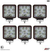Six Hq 27w Led 4and039and039 Square Led Work Lights Lamps Lorry Tractor Offroad 1696lm