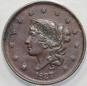 1837 1c N-2 Coronet Or Matron Head Large Cent Anacs Au 55 Details Corroded