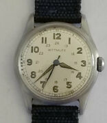 Wittnauer 24 Hours Dial Ww2 Military Manual Wind Watch Excellent Condition