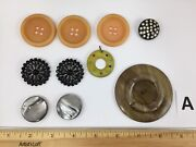Lot Of Antique Vintage Buttons Various Compositions Bakelite Rhinestone Lot A