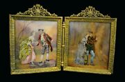 A French Limoges Enamel Two Panel Bronze Framed Diptych